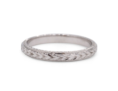 Engraved White Gold Wedding Band - Silverscape Designs