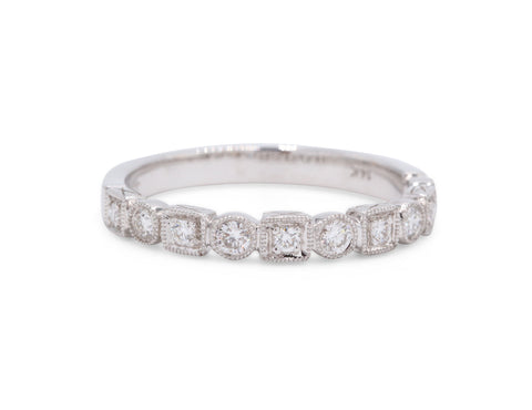 Milgrain Square & Round Wedding Band