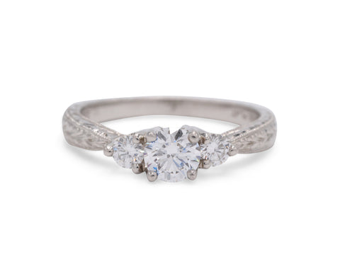 Coast Diamond Platinum Engraved Detailing Engagement Ring with .19 TCW Side Diamonds