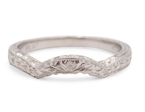Platinum Engraved Wedding Band
