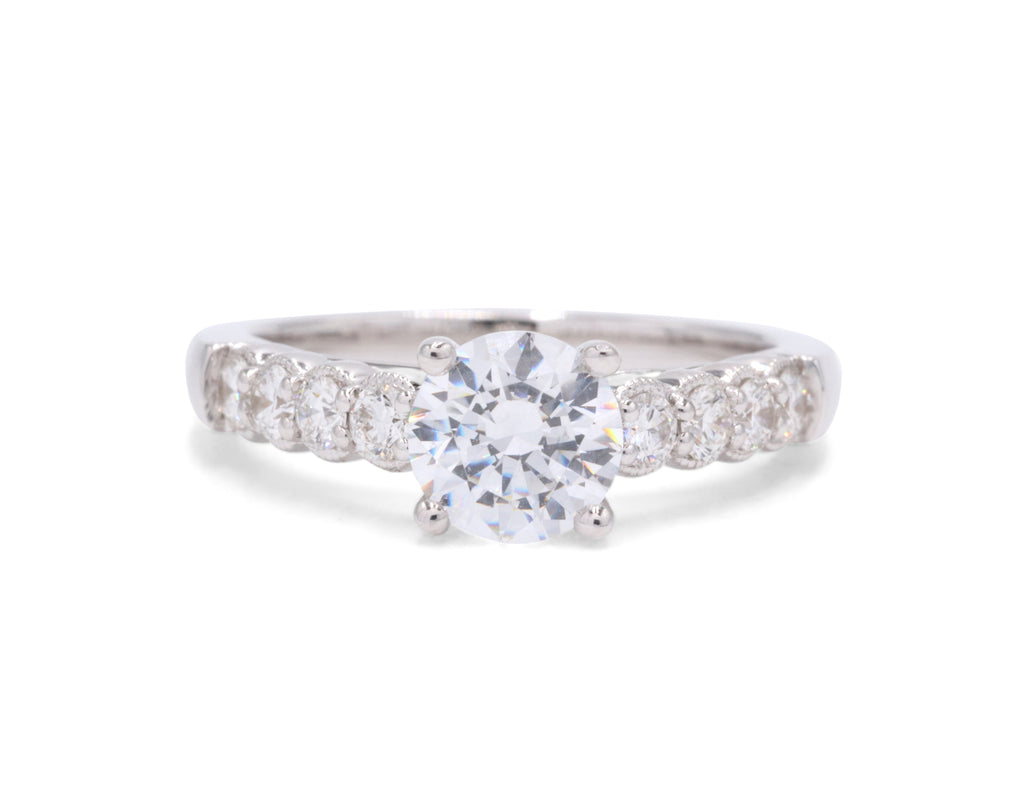 Coast Diamond 14k White Gold Milgrain Detailing.39TCW Side Diamonds Solitaire Engagement Ring