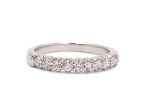 Milgrain 9 Diamond Wedding band