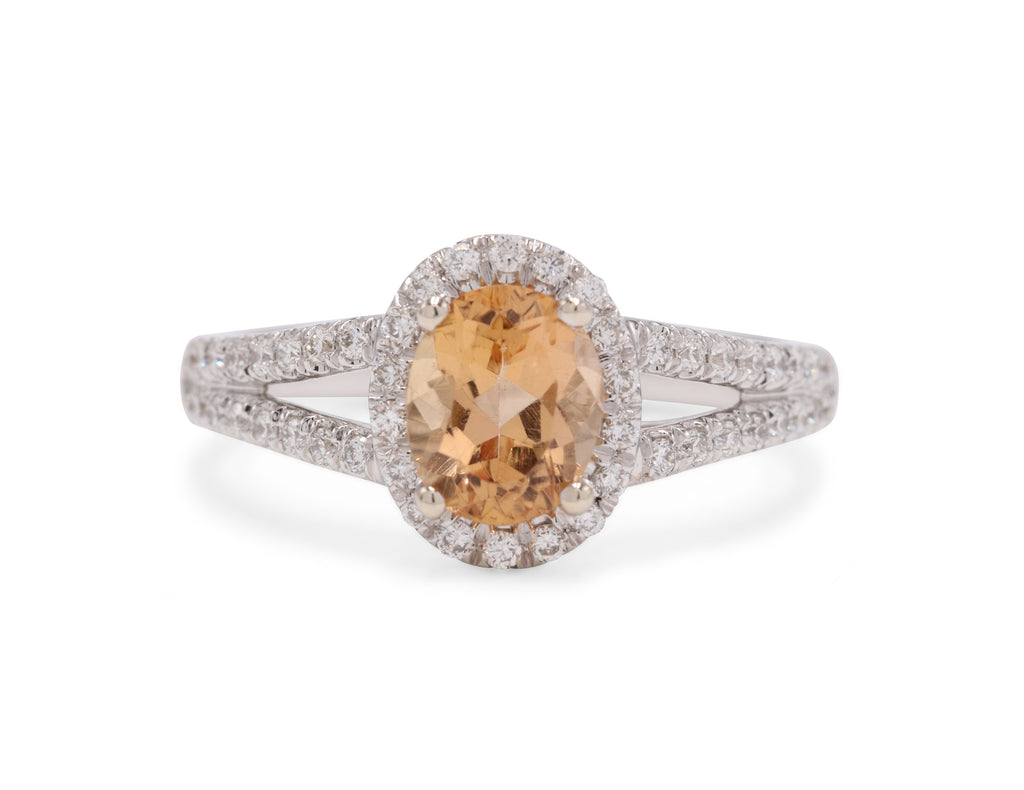 Oval Topaz Diamond Ring