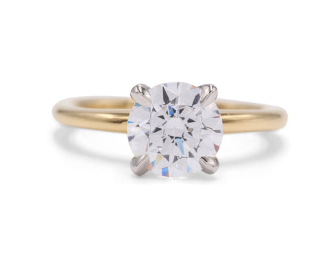 Yellow Gold and Platinum Nolita Solitaire Engagement Ring - Silverscape Designs