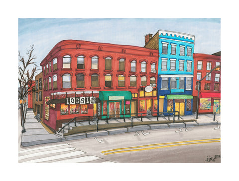 Corner Of Main St and Strong Original Painting - Silverscape Designs