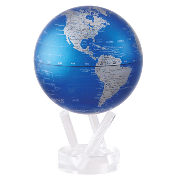 MOVA  Blue and Silver Rotating Globe - Silverscape Designs