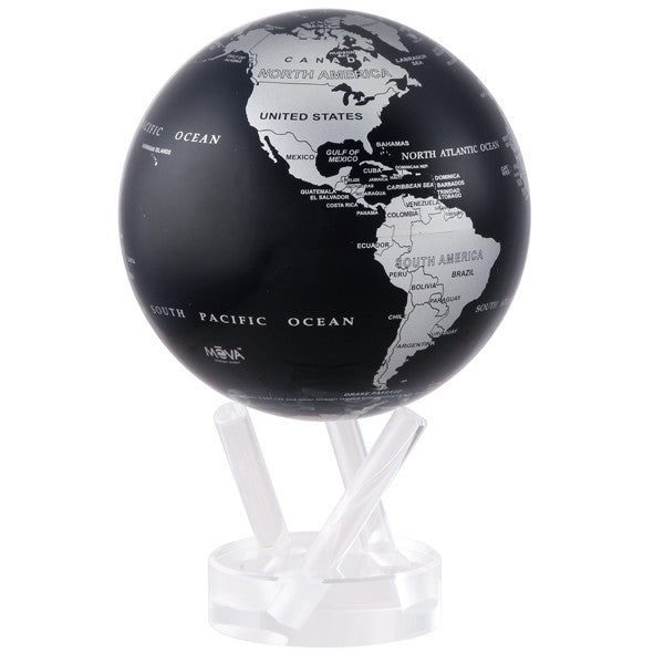 MOVA Rotating Silver & Black Metallic Globe