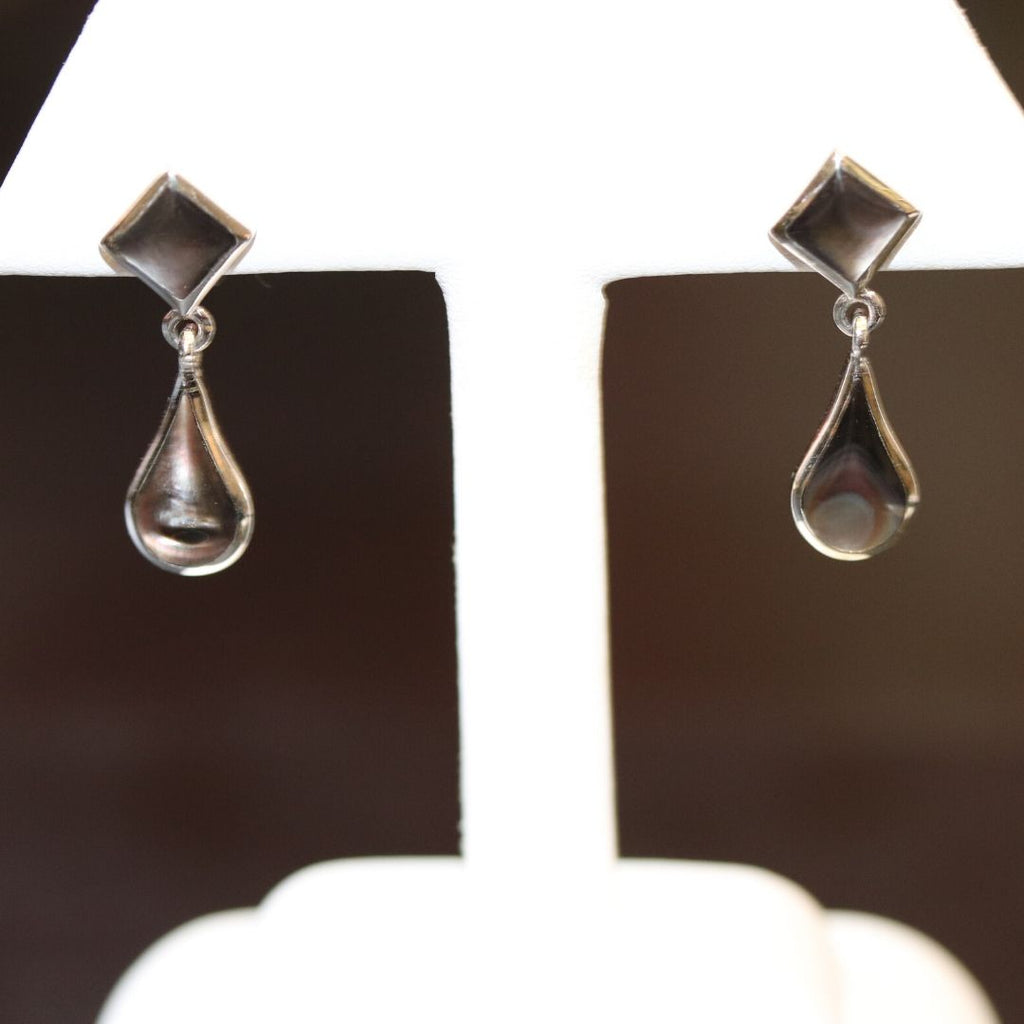 Black Mother of Pearl Tear Drop Earrings in White Gold - Silverscape Designs