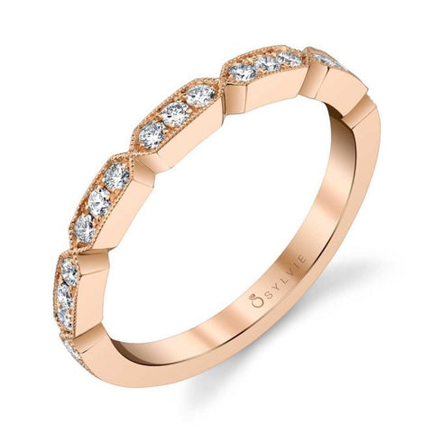 Modern Rose Gold Stackable Diamond Band - Silverscape Designs