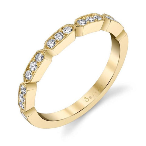 Modern Yellow Gold Stackable Diamond Band - Silverscape Designs