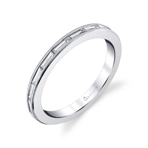 Ultra Modern Stackable Diamond White Gold Wedding Band - Silverscape Designs