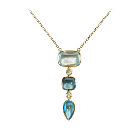 Multi Blue Topaz and Diamond Yellow Gold Necklace