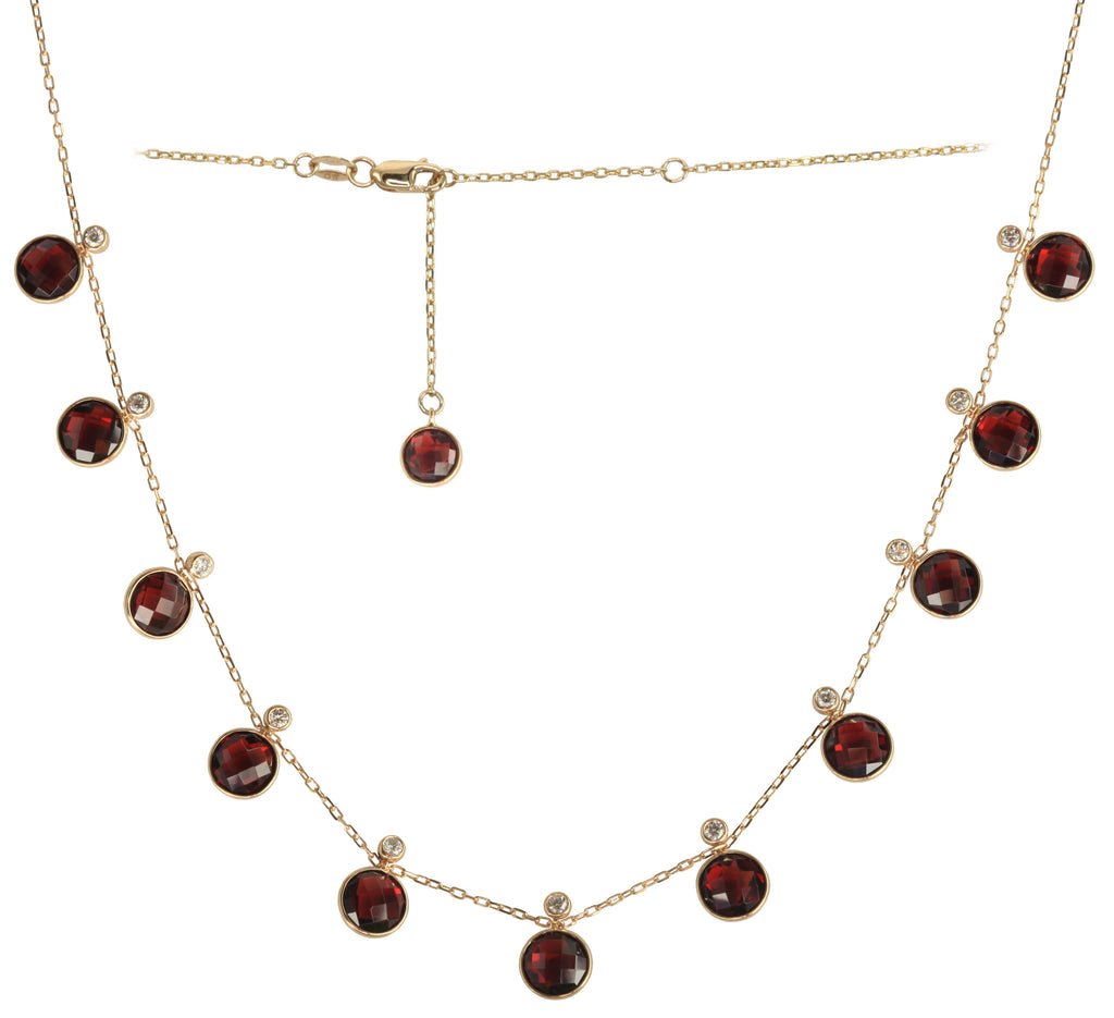 Garnet & Diamond Droplet Necklace