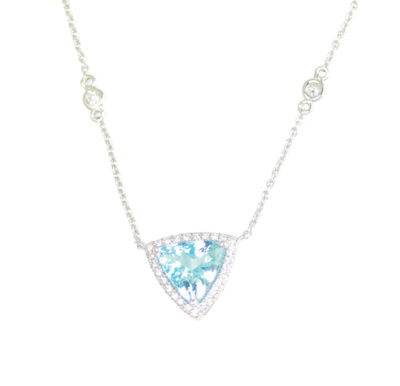 Trillion Aquamarine and Diamond White Gold Necklace - Silverscape Designs