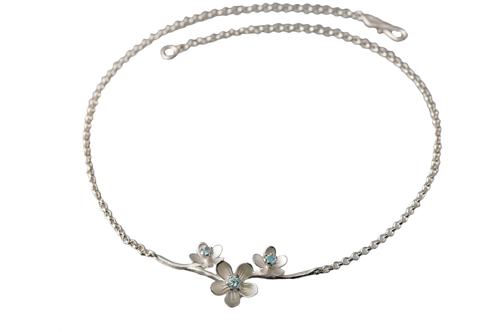 Three Apple Blossom Blue Topaz Necklace