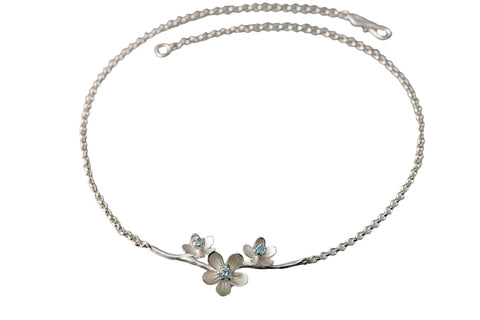 EAM Sterling Silver Three Apple Blossom Blue Topaz Necklace