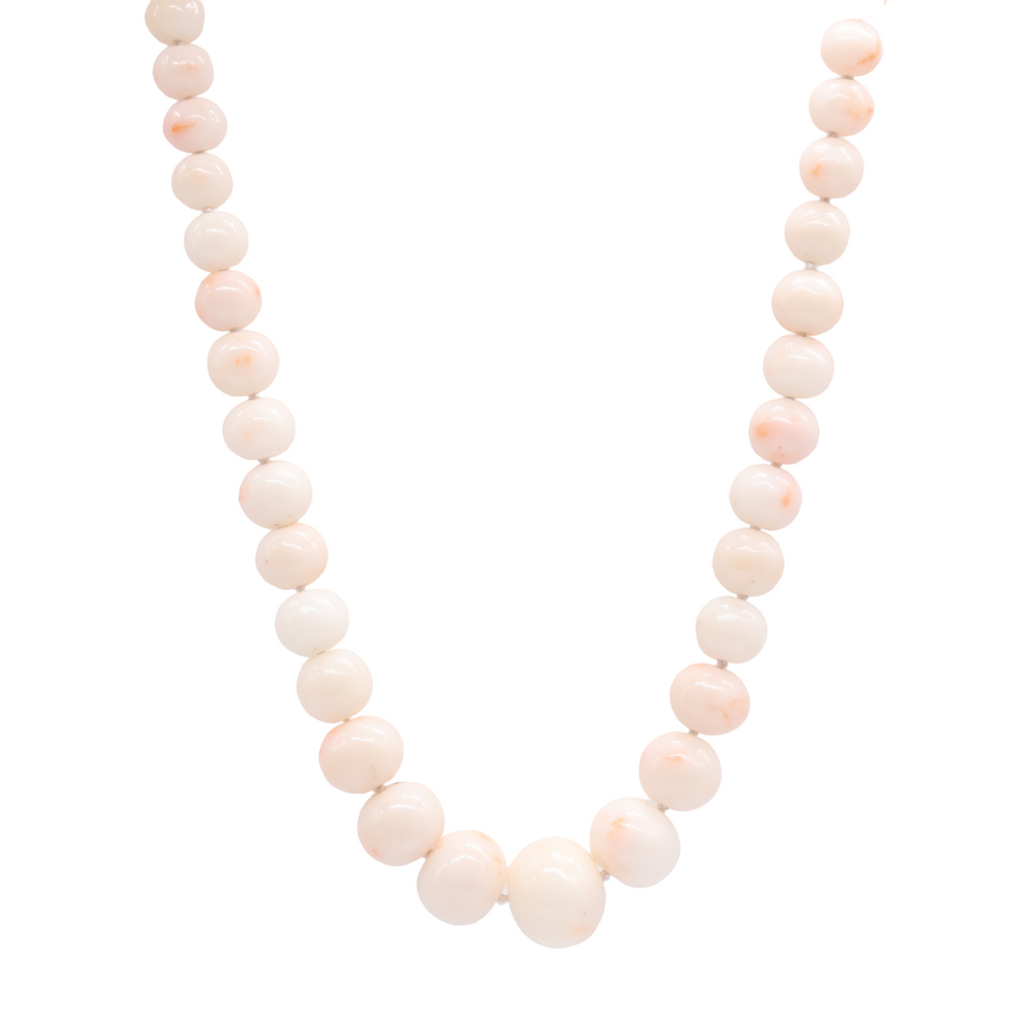 Estate Angel Skin Coral Beaded Necklace - Silverscape Designs