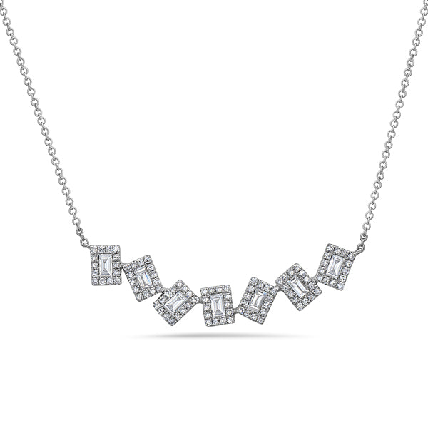 Asymmetric Emerald Cut Diamond White Gold Necklace - Silverscape Designs