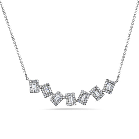 Asymmetric Emerald Cut Diamond White Gold Necklace