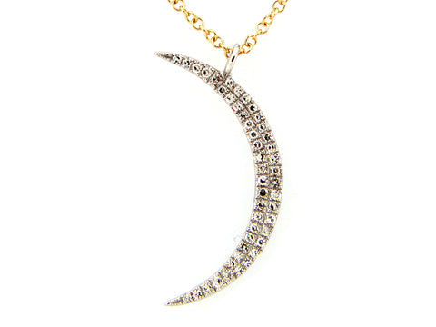 Diamond Medium Mixed Metal Crescent Moon Necklace