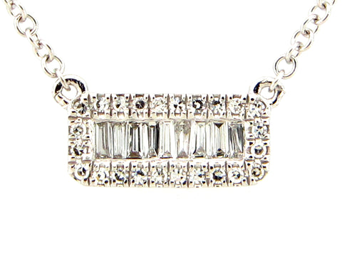 Diamond Rectangle Pendant Necklace - Silverscape Designs
