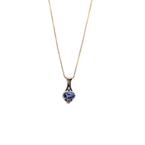 East West Set Oval Sapphire and Diamond White Gold Necklace - Silverscape Designs