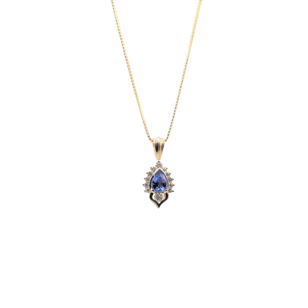 Pear Sapphire and Diamond Yellow Gold Necklace - Silverscape Designs