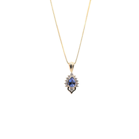 Keith Harding Pear Sapphire and Diamond 14k Yellow Gold Necklace
