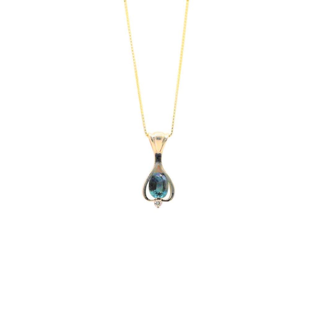 Green Oval Sapphire and Diamond Yellow Gold Necklace - Silverscape Designs