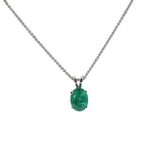 Fitzgerald Imports 1.41 carat Emerald Solitaire 14k White Gold Pendant