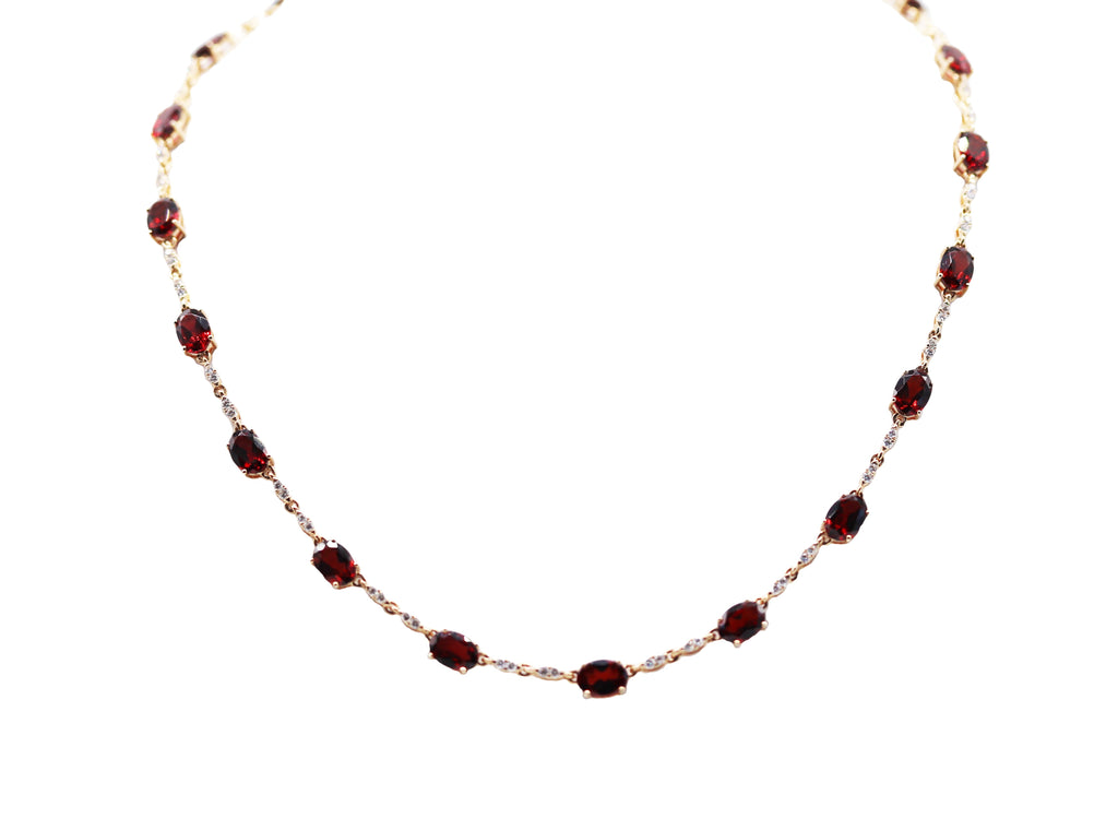 Garnet and Diamond Link Necklace - Silverscape Designs