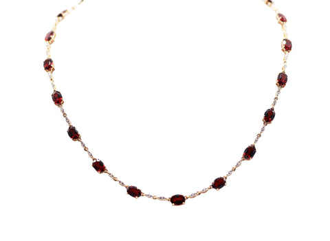 PeJay 2 Carat Garnet and 1.15TCW Diamond 14k Yellow Gold Link Necklace
