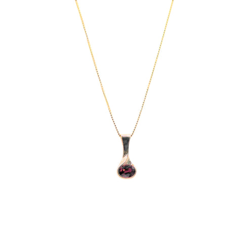 East West Oval Garnet Yellow Gold Necklace - Silverscape Designs