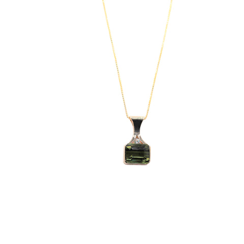 Emerald Cut East West Set Green Tourmaline an Diamond Yellow Gold Necklace - Silverscape Designs