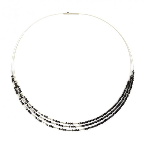 Clini Black Spinel and Sterling Silver Necklace - Silverscape Designs