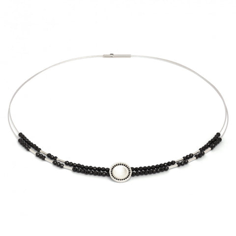 Corelli Black Spinel Sterling Silver Collar Necklace - Silverscape Designs