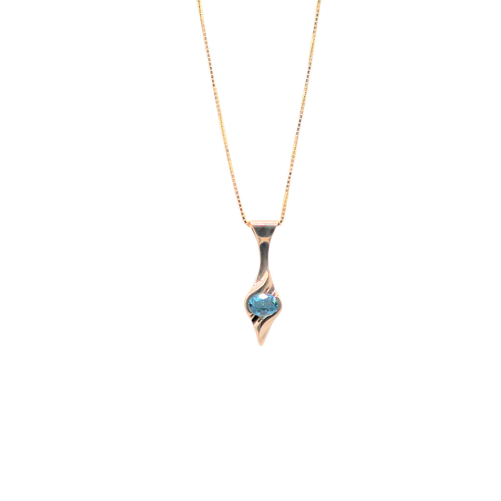 Bright Blue Zircon Yellow Gold Necklace - Silverscape Designs