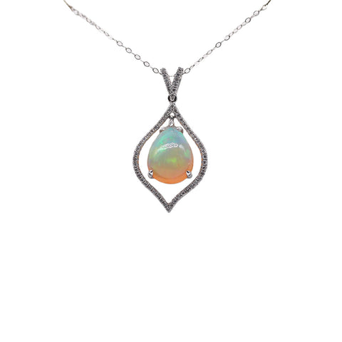 "James Breski Floating 4.30 carat Opal .28 TCW Diamond 18k White Gold on16""in Necklace"