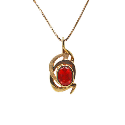 Laurie Donovan Contemporary 1.07 carat Mexican Fire Opal 18k Yellow Gold Pendant