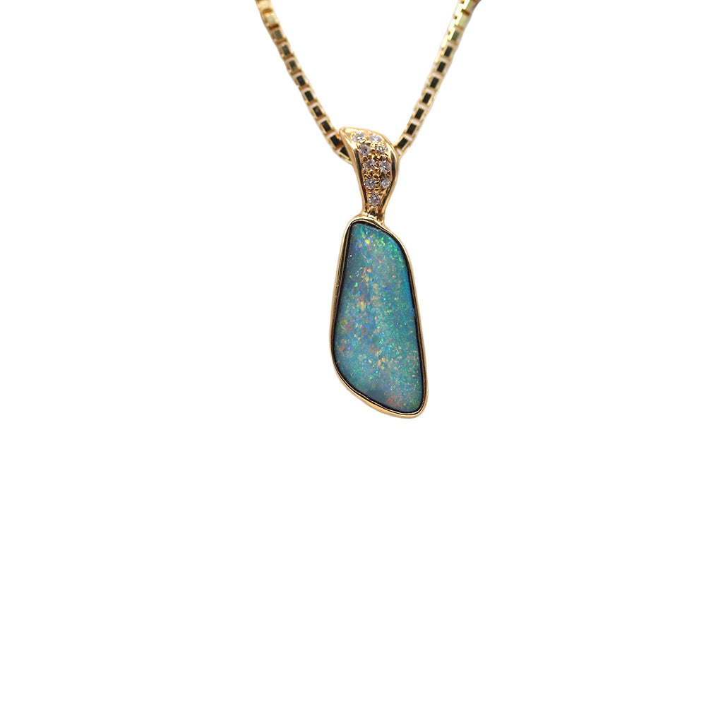 Roger Pearman Contemporary Boulder Opal .09 TCW Diamond 14k Yellow Gold Pendant