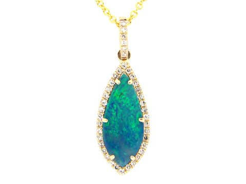 Dilamani 1.50 carat Black Opal .10TCW Diamond 14k Yellow Gold Necklace