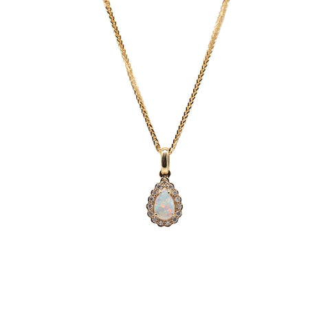 GBC Pear Shaped .18 carat Opal .09 TCW Diamond 14k Yellow Gold Pendant