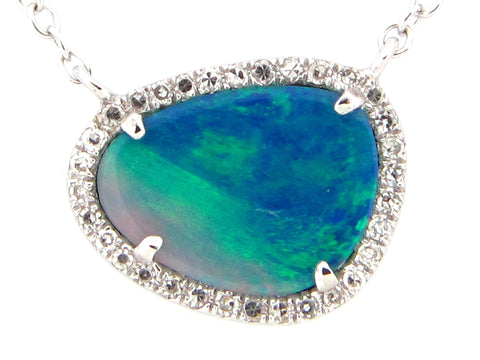 Black Opal and Diamond White Gold Necklace