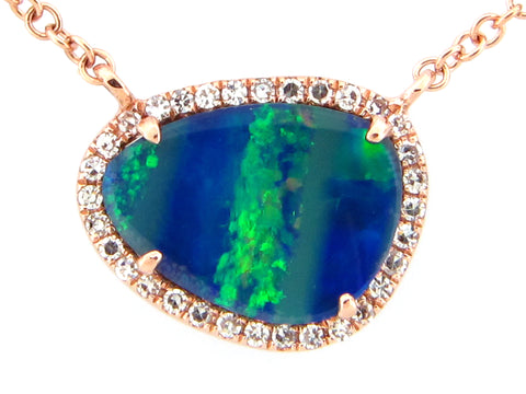 Black Opal and Diamond Rose Gold Necklace