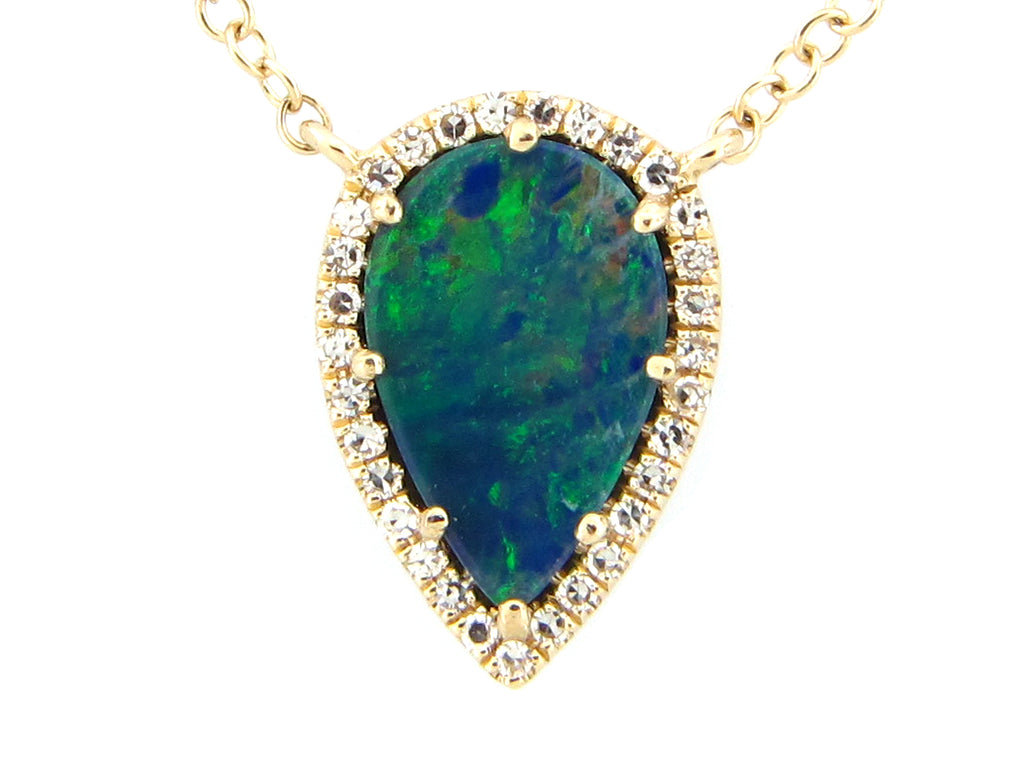 Black Opal and Diamonds Pear Shaped Halo Yellow Gold Necklace - Silverscape Designs