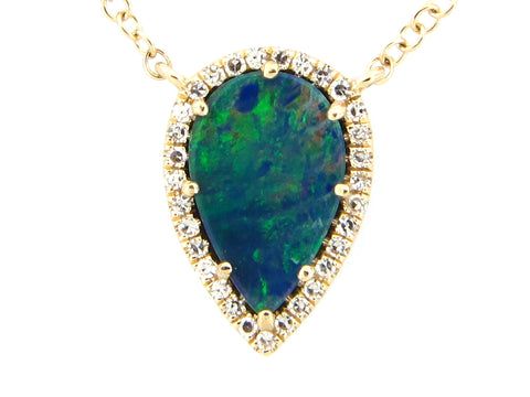 Black Opal and Diamonds Pear Shaped Halo Yellow Gold Necklace