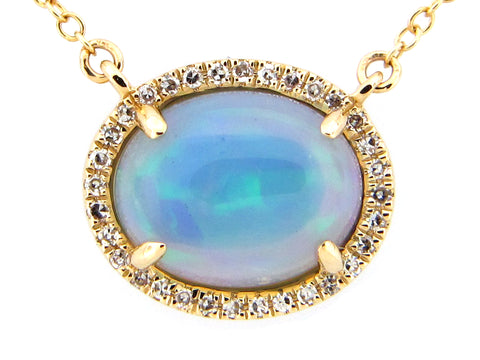 Opal and Diamond Halo White Gold Necklace