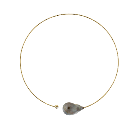 Tahitian Pearl and Diamond Yellow Gold Collar Necklace - Silverscape Designs