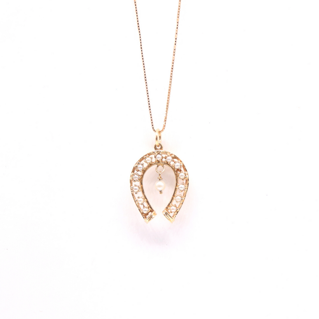 Estate Pearl Horseshoe Pendant in 14 Karat Yellow Gold - Silverscape Designs