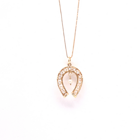 Estate Pearl Horseshoe Pendant in 14 Karat Yellow Gold